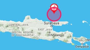 Lokasi gempa di Bangkalan, Madura, Jawa Timur.