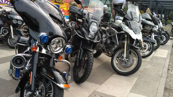 Deretan motor moge Harley Davidson. (Ilustrasi).