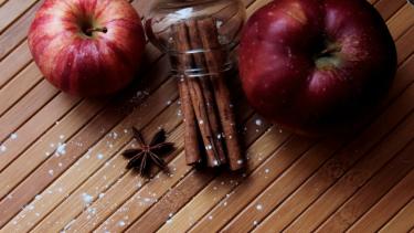 Ilustrasi apel dan kayu manis