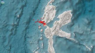 Lokasi sebaran Gempa Swarm Jailolo di Halmahera Barat, Maluku.