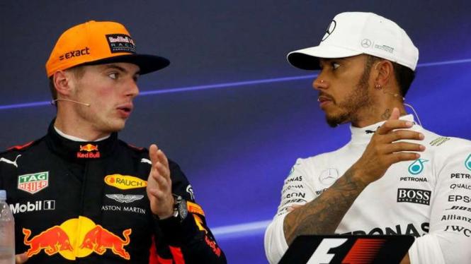 Pembalap F1, Max Verstappen (kiri) dan Lewis Hamilton (kanan)