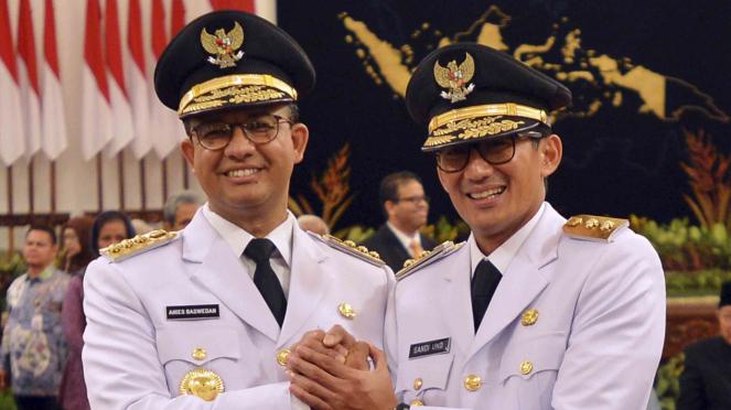 Pelantikan Gub dan Wagub DKI Jakarta, Anies Baswedan dan Sandiaga Uno