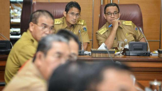 Gubernur DKI Jakarta, Anies Baswedan, dan Wakil Gubernur Sandiaga Uno.