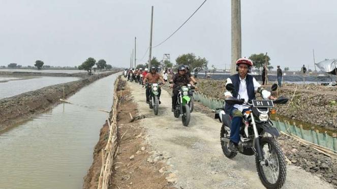 Jokowi saat kendarai motor trail di area tambak udang di Muara Gembong, Bekasi.