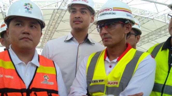 Ketua INASGOC, Erick Thohir dan Wakil Gubernur DKI Jakarta, Sandiaga Uno
