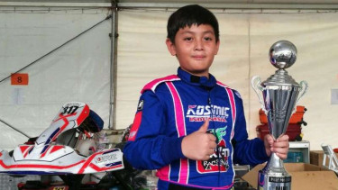 M Shofin Affan Al Insan, pembalap Gokart di ajang Batam Go Fun Race 2017.