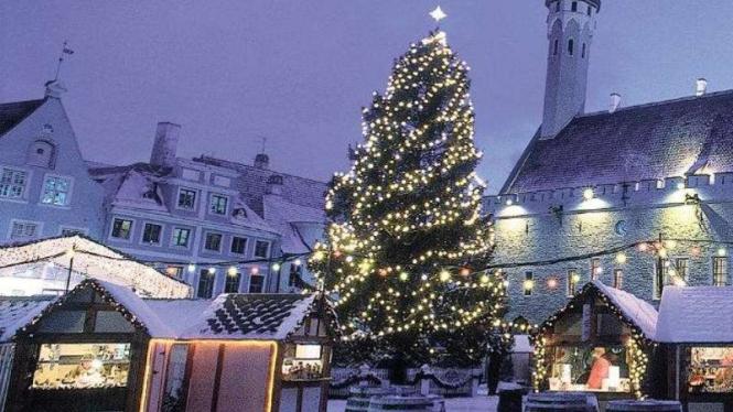 Suasana natal bersalju di Estonia