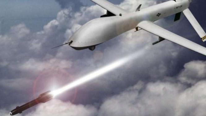 Ilustrasi drone yang dilengkapi senjata rudal.