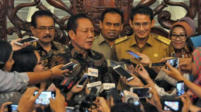 Mantan Gubernur DKI, Sutiyoso dan Sandiaga Uno, saat Wakil Gubernur DKI.