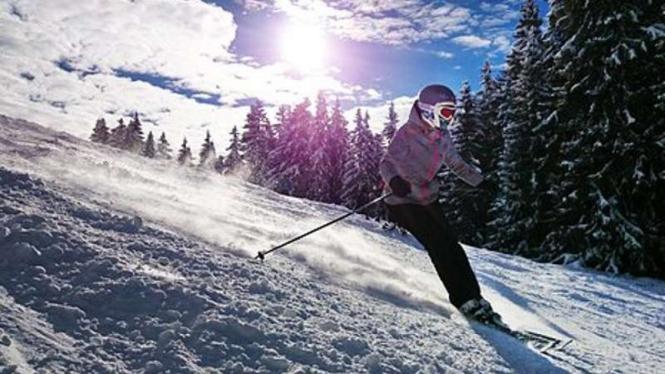 Ilustrasi bermain ski