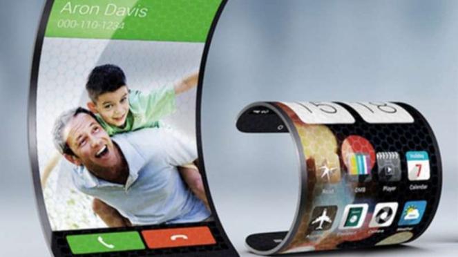 Ilustrasi smartphone layar lipat.
