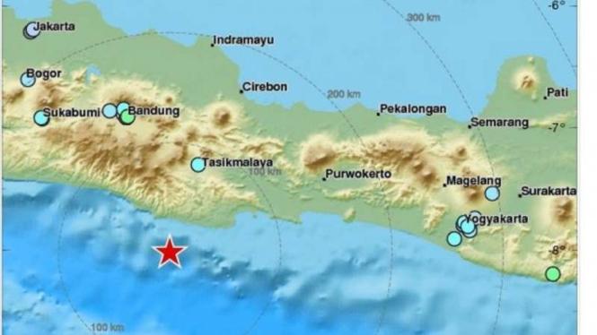 Gempa bumi yang berpusat di selatan Jawa.