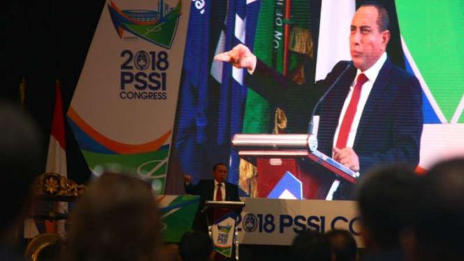Ketua Umum PSSI, Edy Rahmayadi, di Kongres PSSI 2018