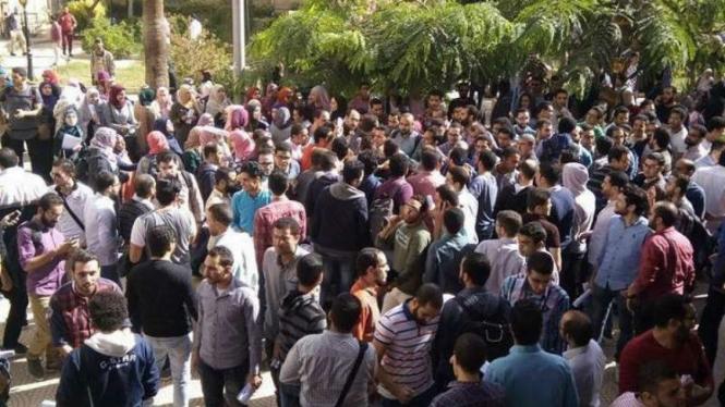 Ilustrasi unjuk rasa di Mesir.