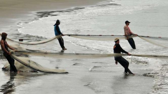 Nelayan tradisional menarik pukat darat atau cantrang.