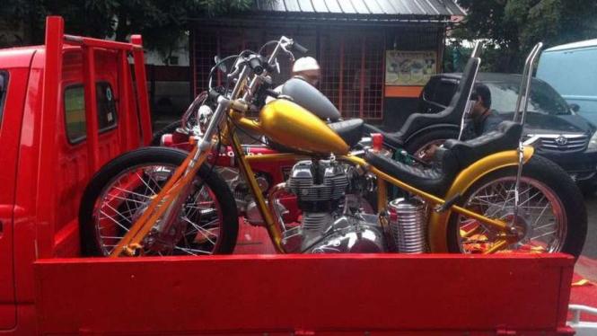 Motor chooper Jokowi siap dibawa ke Istana Bogor.