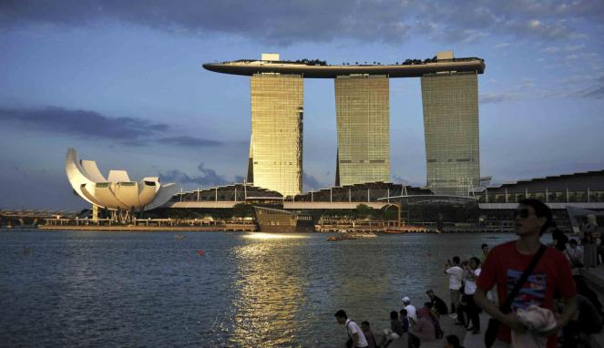 Pemandangan Marina Bay Sands di Singapura