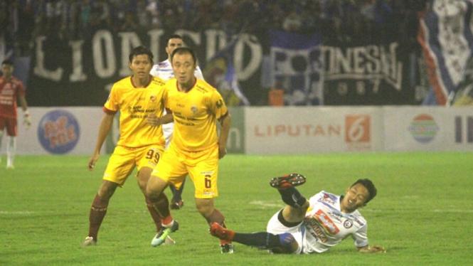 Pertandingan Sriwijaya FC vs Arema FC di babak 8 besar Piala Presiden 2018