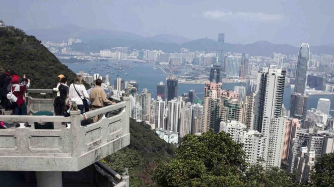 Kawasan wisata The Peak, Hong Kong.