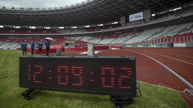 Persiapan arena cabang atletik Asian Games 2018 di SUGBK.