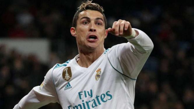 Megabintang Real Madrid, Cristiano Ronaldo, rayakan gol.