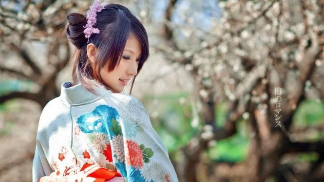 Ilustrasi wanita Jepang.