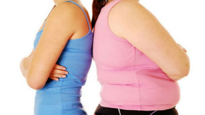 Ilustrasi tubuh gemuk dan kurus.