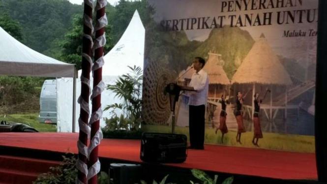 Presiden Jokowi di Ambon, Rabu, 14 Februari 2018.