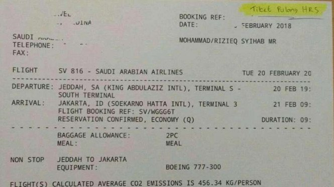 Potongan gambar tiket penerbangan yang tertulis nama Mohammad Rizieq Syihab untuk jadwal tiba pada 21 Februari 2018.