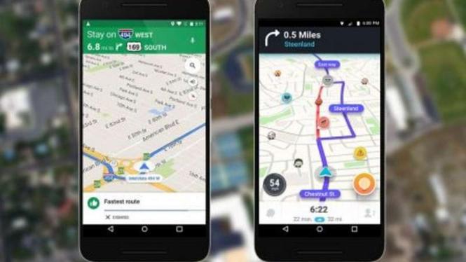 Ilustrasi Waze dan Google Maps.