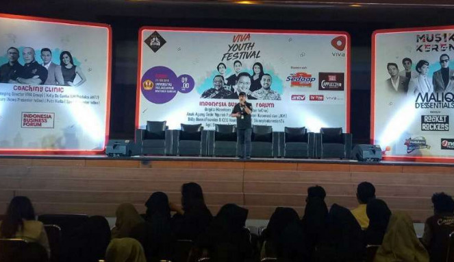 Kelly Da Cunha, General Manager Produksi ANTV, dalam forum Viva Youth Festival di kampus Universitas Padjajaran Kota Bandung, Jawa Barat, pada Rabu, 21 Februari 2018.