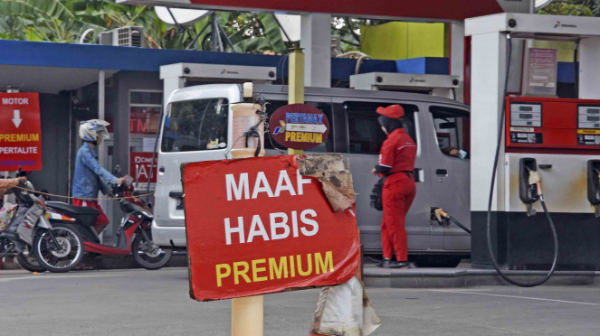Pemberitahuan tentang Bahan Bakar Minyak (BBM) jenis Premium yang telah habis