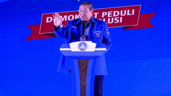 Ketua Umum Partai Demokrat, Susilo Bambang Yudhoyono menyampaikan pidato
