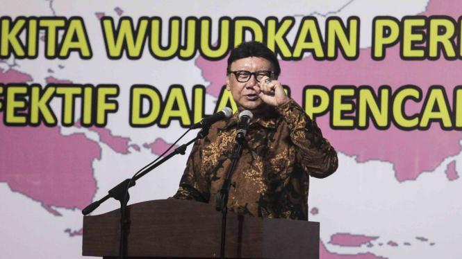Menteri Dalam Negeri (Mendagri), Tjahjo Kumolo memberikan pemaparan