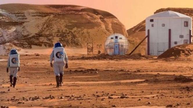 Ilustrasi kehidupan manusia di Planet Mars.