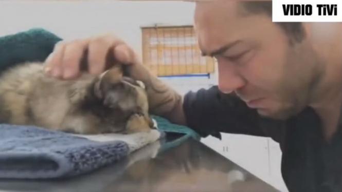Majikan dan kucing kesayangannya.