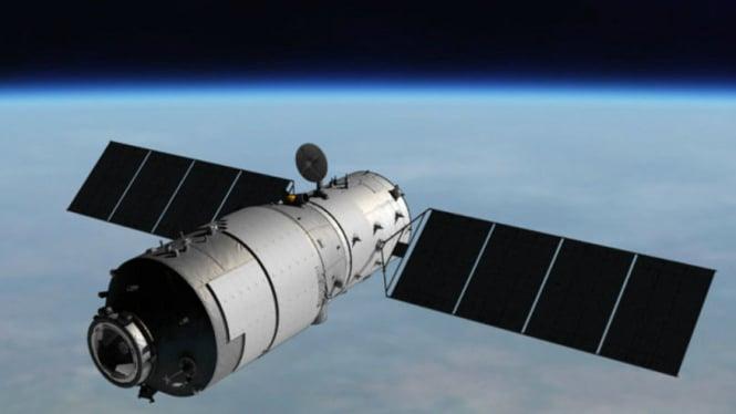 Ilustrasi Stasiun Antariksa China Tiangong di orbit Bumi.