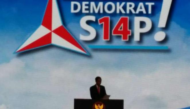Presiden Joko Widodo di Rapimnas Partai Demokrat.