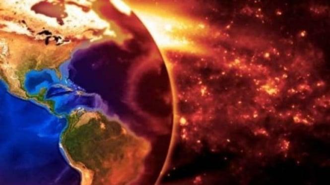 Ilustrasi jarak Bumi dengan Matahari.