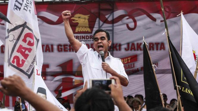 Sekjen Partai Gerindra, Ahmad Muzani memberikan pidato politik