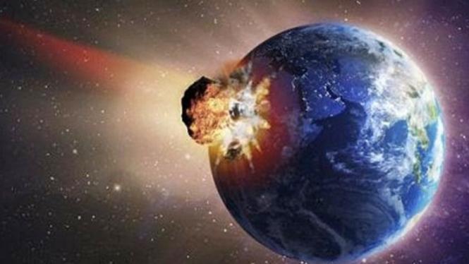 Ilustrasi Bumi ditabrak asteroid.