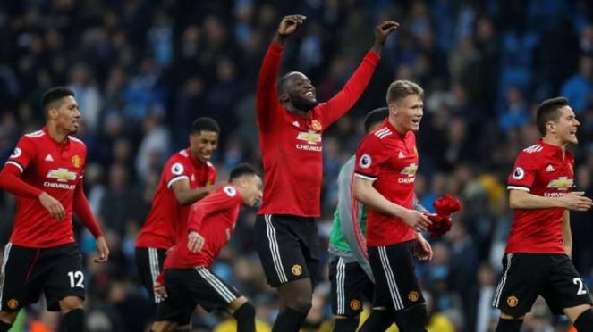 Selebrasi kemenangan para pemain Manchester United atas Manchester City