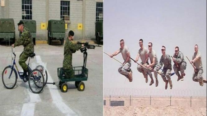 Selera humor tentara.