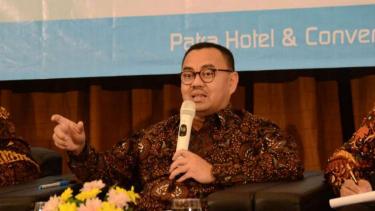 Sudirman Said, calon gubernur Jawa Tengah, saat dialog dengan Asosiasi Pengusaha Indonesia Jawa Tengah di Semarang pada Selasa, 10 April 2018.