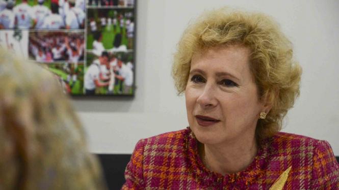 Duta Besar Federasi Rusia untuk Republik Indonesia Lyudmila Vorobieva saat berkunjung ke kantor redaksi VIVA