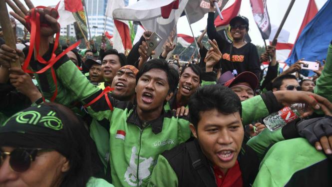Aksi unjuk rasa ojek online di Jakarta beberapa waktu lalu.