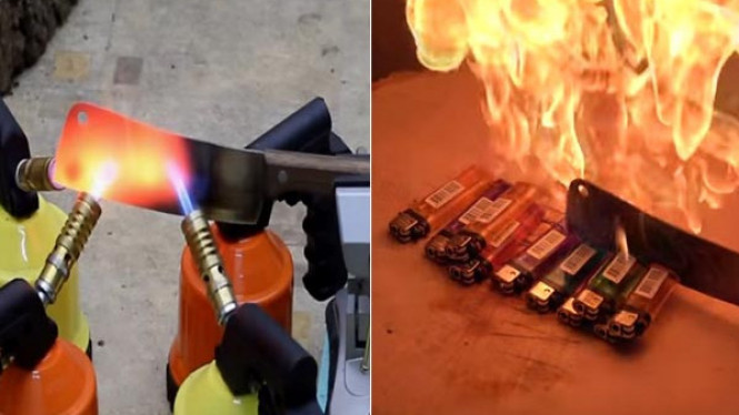 Pisau Panas 1000 Derajat Dipakai Memotong 10 Korek Gas ...
