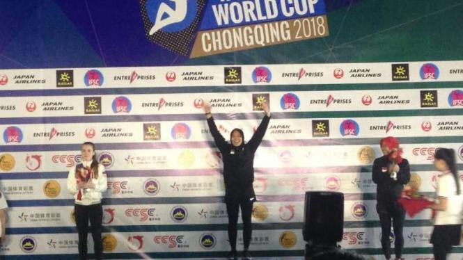 Atlet indonesia, Aries Susanti Rahayu, menangi Kejuaraan Dunia Panjat Tebing