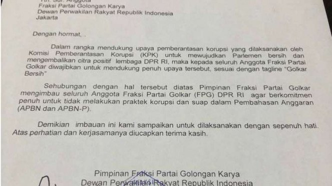 Surat edaran Fraksi Golkar dilarang terima suap
