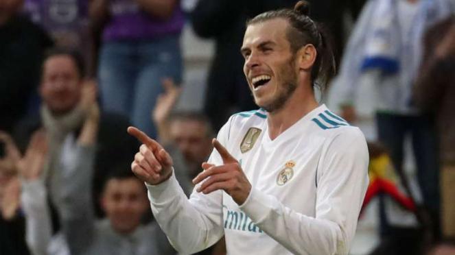 Winger Real Madrid, Gareth Bale rayakan gol.
